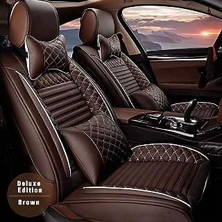 Surekit Custom Car Seat Cover for Chrysler 200 300 300C 300S Pacifica Sebring 5-Seat Car Seat Cushion Cover Full Set Needlework PU Leather Luxury Set (Brown)
