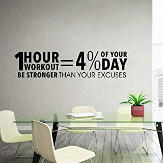 Workout Inspiring Quotes Decor Sticker Gym Vinyl Wall Decal Fitness Motivation Lettering Wall Art d1 13x58cm