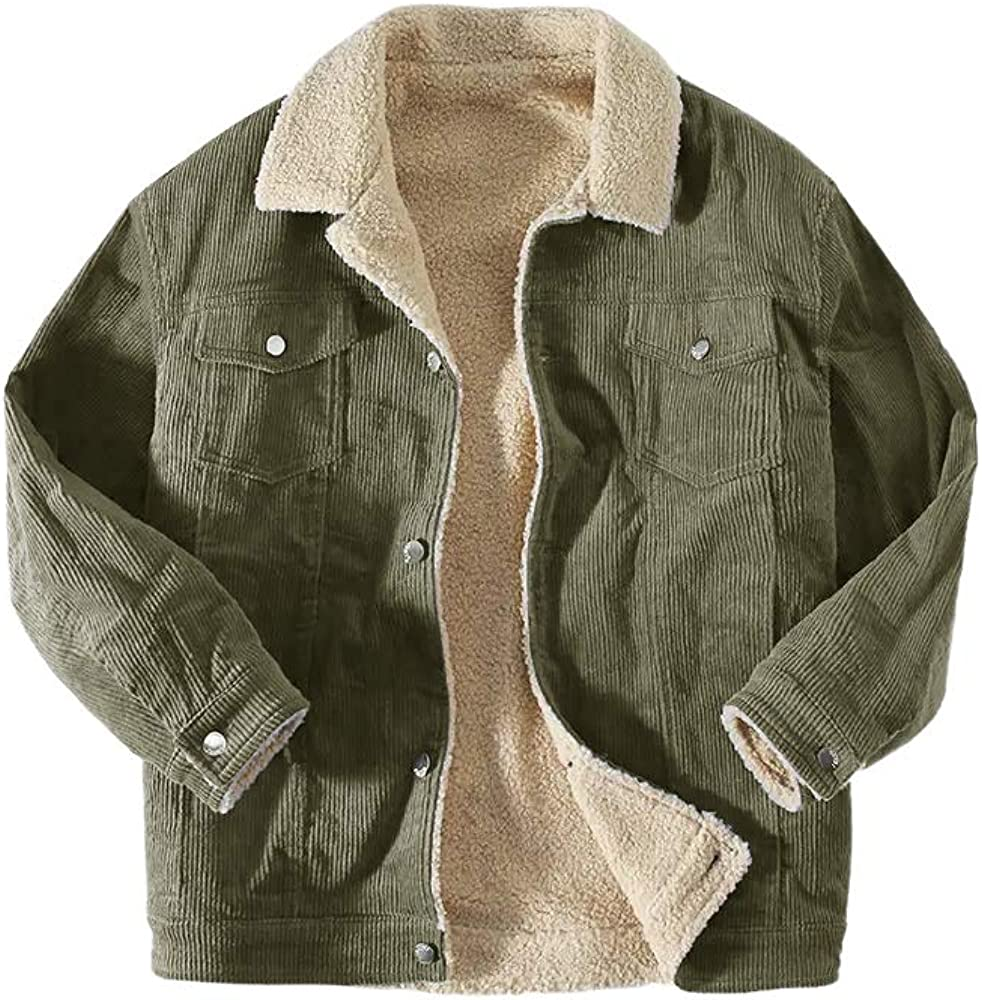 Mens Vintage Sherpa Corduroy Jacket Shawl Slim Cardigan Warm Plain Trucker Jackets