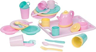 Play Circle by Battat – Dishes Wishes Dinnerware Set – Colorful Plates, Teapot, Cups, Spoons, Forks, Serving Tray, and Mor...