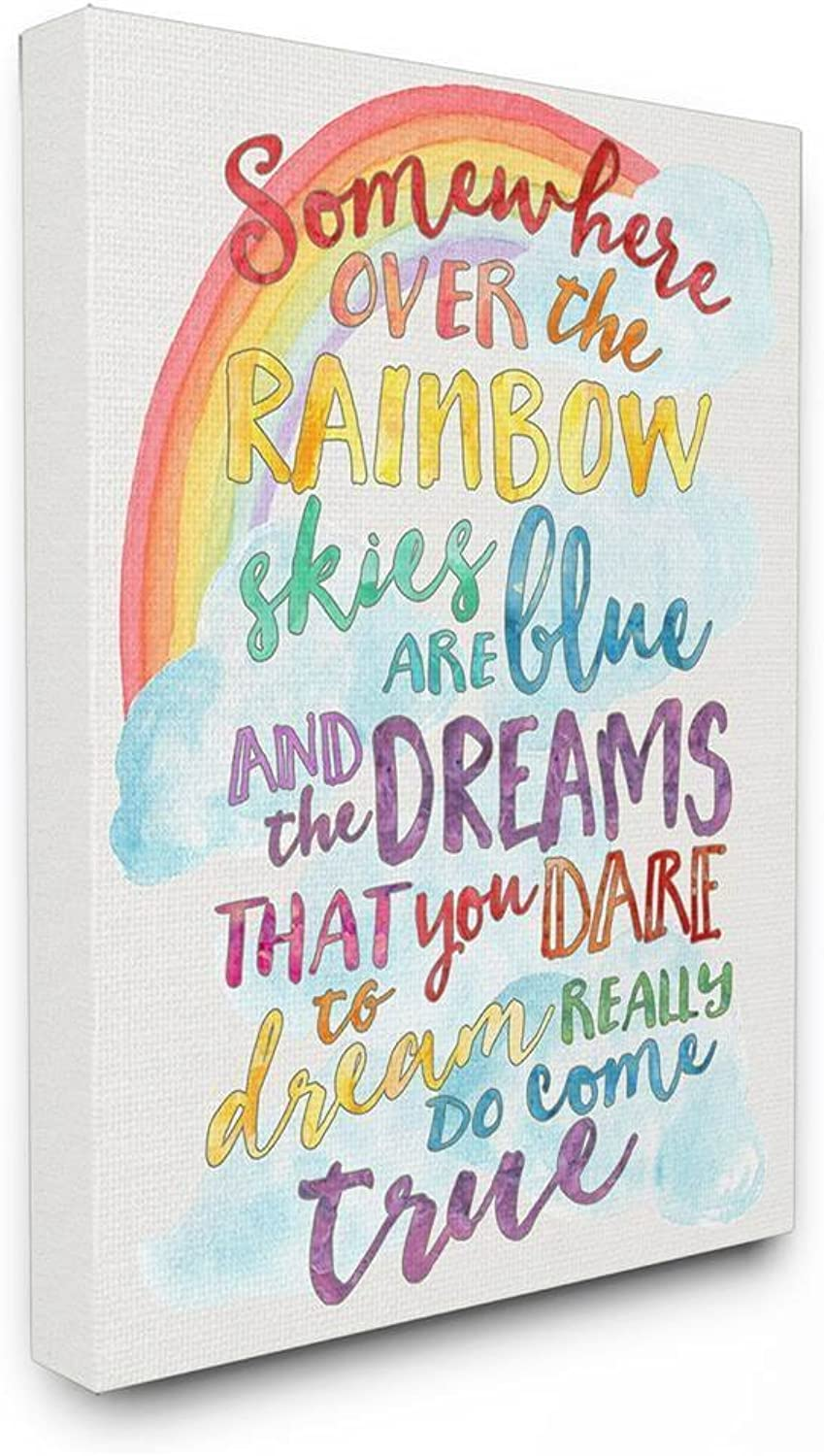 The Kids Room By Stupell Somewhere Over The Rainbow With Rainbow Stretched Canvas Wall Art