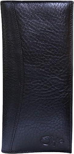 Genuine Leather Black Girls Bi Fold Card Holder Womens Purse Clutch Long Wallet