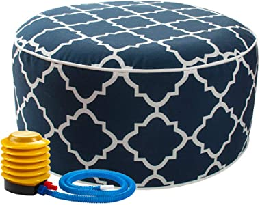 IN4 Care Inflatable Ottoman footrest Stool with Portable air Pump and Storage Bag, Used for Indoor or Outdoor, Kids or Adults