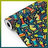 Bobina papel de regalo, rollo grande 62cm x 100m • AJEDREZ Azul • Ideal para: Tiendas Negocios Comercios Envolver regalos Cumpleaños Baby Shower Infantil Decoración [FP Fiesta Paper]