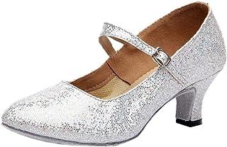 KESEELY Women Mid High Buckle Strap Shoes Heels Glitter Dance Shoes Ballroom Latin Tango Rumba Shoes