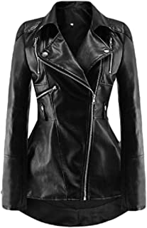 Howely Women's Fashion Fitness Zip-Front Fold-Collar/Lapel Faux Leather Jackets
