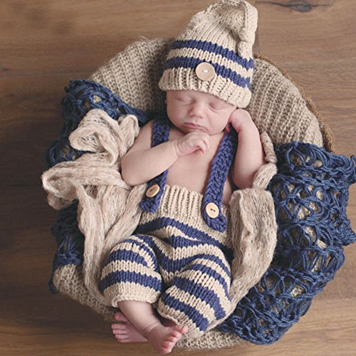 HAPPY ELEMENTS Newborn Fotografia Props bambino neonato Crochet del Knit costume a strisce blu morbida Travestimenti Elf pulsante Beanie Hat + Pants