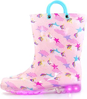 KomForme Toddler Boy Girl Rain Boots with Light,Kids Shining Shoes with Memory Foam Insole and Easy-on Handles