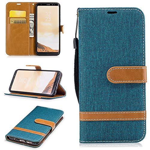 Capa carteira para Galaxy A6+ Plus [jeans] couro PU flip suporte suporte alça de mão capa capa para Samsung A6+ Plus - verde