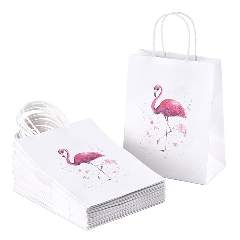 Paper Gift Bags 25Pcs BagDream Flamingo Gift Bags with Handles for, Paper Shopping Bags, Party Bags, Retail Bags, Merchandise Bags, Wedding Bags, Craft Bags, Medium Size 8x4.25x10 Inches?Kraft Bags