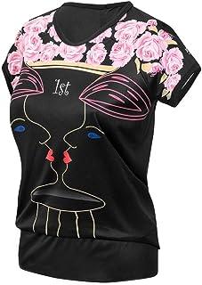Damen Fahrradshirt mit reflektrierenden Elementen Pink//Schwarz