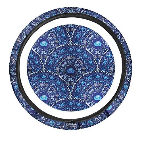 PZZ BEACH Boho Style Steering Wheel Cover- Blue Ethnic Mandala Stripes Pattern, Soft & Elastic Sweat-Absorption Auto Steering Wheel Wraps, 15 inch