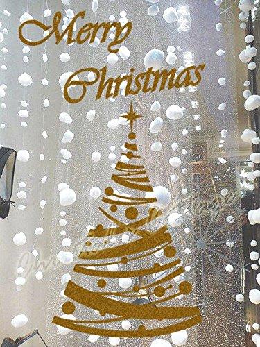 60 cm de haut Polka Dot Arbre de Noël fenêtre Décoration murale Autocollant, vert pomme, Outside Glass