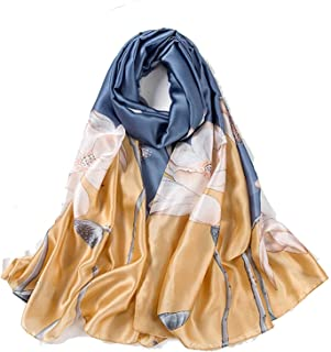 أوشحة Liwwqisqwj للنساء، وشاح للسيدات أغطية رأس حريرية طباعة كبيرة باندانا أزياء نسائية شتاء وشال الشاطئ ومنديل