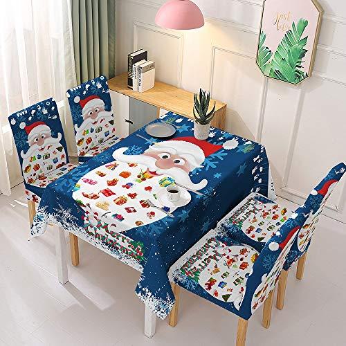 La decoración de Navidad elástica Tela de Mesa Silla Cubierta de la Silla de Cubierta Cubierta de Tela Impermeable Pieza XZZ (Color : Blue Santa, Size : One Size Fits All)