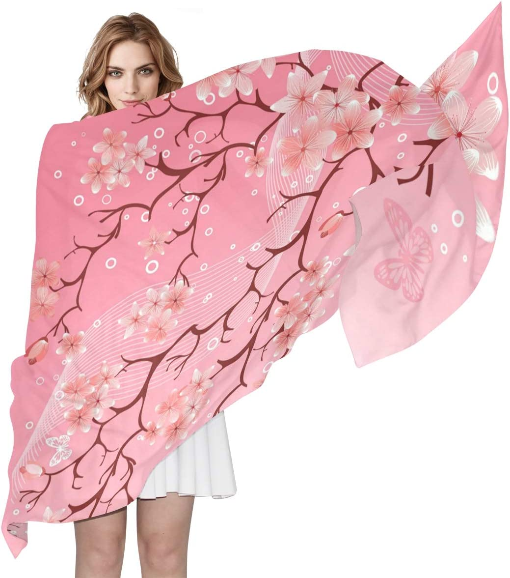 AUUXVA Fashion Scarf Floral Flower Japanese Cherry Blossom Long Lightweight Sunscreen Scarf Shawl Wrap Muffler Neckerchief for Women Men