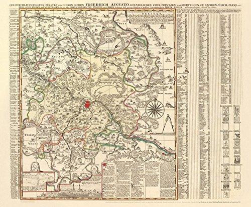 Historische Karte: Amt Dresden mit den Ämtern Moritzburg, Radberg, Dippoldiswalde und Lausnitz, um 1750 (Plano): KURFÜRSTENTUM SACHSEN | MEISSNISCHER KREIS