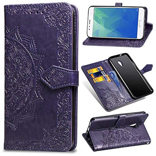 Ycloud PU Leder Tasche für Meizu M5S Kunstleder Wallet Flip Case mit Standfunktion Kartenfächer Entwurf Mandala Prägen Lila Hülle für Meizu M5S