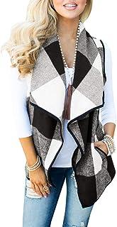 Gemijack Womens Buffalo Plaid Vest Sleeveless Open Front Lapel Cardigans with Pocket