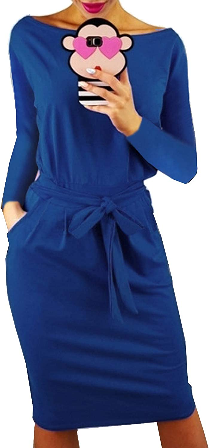 Casuress Women's Dress Casual Long Sleeve Party Bodycon Belted Pencil Dress with Pockets