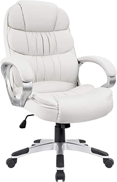 Homall Office Chair High Back Computer Chair Ergonomic Desk Chair PU Leather Adjustable Height Modern Executive Swivel Task Chair With Padded Armrests And Lumbar Support White