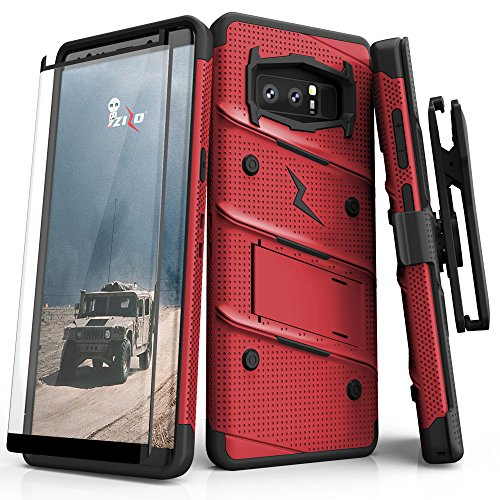 ZIZO Bolt Series for Samsung Galaxy Note 8 Case Military Grade Drop Tested with Tempered Glass Screen Protector Holster RED Black
