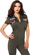Leg Avenue Women's Top Gun Flight Suit Costume, Khaki