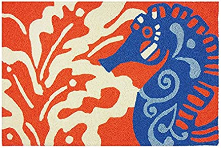 Blue Seahorse on Coral Coastal Washable 21 X 33 Inches Area Accent Rug