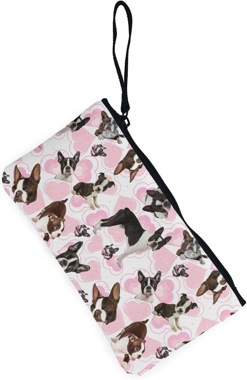 AORRUAM Boston Terrier Canvas Coin Purse,Canvas Zipper Pencil Cases,Canvas Change Purse Pouch Mini Wallet Coin Bag