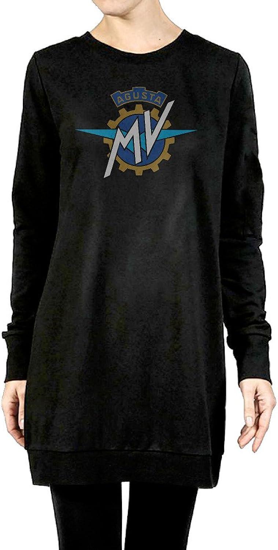 MV Agusta Logo Women's Long Fleece Hoodie Black
