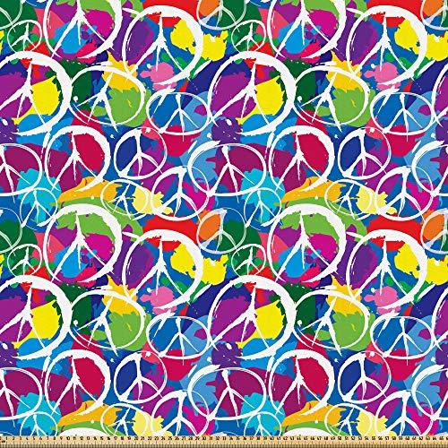 ABAKUHAUS Hippie Tela por Metro, Tema del activismo por la paz, Microfibra Decorativa para Artes y Manualidades, 1M (160x100cm), Multicolor