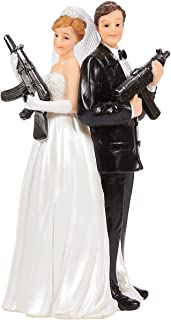 Juvale Wedding Cake Topper - Fun Wedding Couple Figures Decorations Gift (Bride Groom Figurines Holding Rifles)