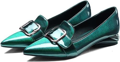 FLYSXP Printemps version coréenne de de la chaussure à bout pointu de chaussures simples à talon plat en cuir verni pour femmes, à boucle basse, à boucle carrée, à souliers de marée, chaussures de condui  design simple et généreux
