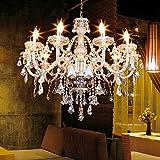Iglobalbuy Lámpara colgante de 10 brazos Lámpara de techo K9 Cristal colgante Luz de color Cognac H25.59'x W35.43' (10 luces)