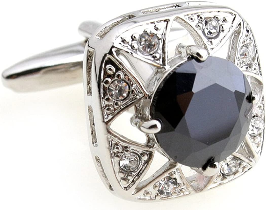 MRCUFF Black Crystal Square Round Pair Cufflinks in a Presentation Gift Box & Polishing Cloth