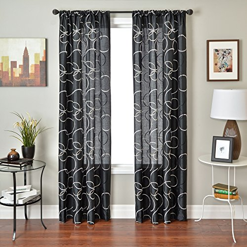 Softline Home Fashions Kora Serie Kunstseide Fenster Vorhang/Fall/Behandlung/Panel mit Stab Pocket, schwarz, 55 Inches x 84 Inches