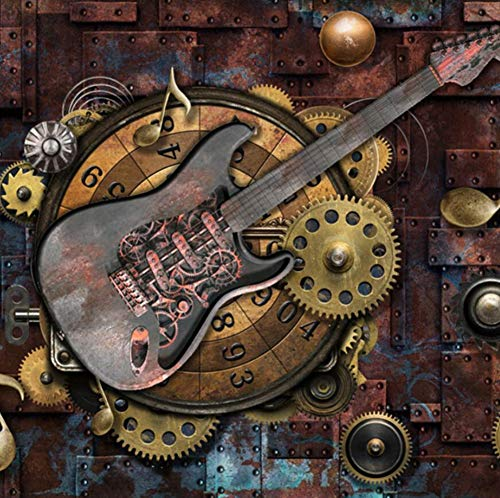 Benutzerdefinierte Wandbild Tapete Wandverkleidung Retro Metallgetriebe Musiknoten Gitarre Bar KTV Hintergrundbild Dekoration Wandmalerei, 300 * 210 cm