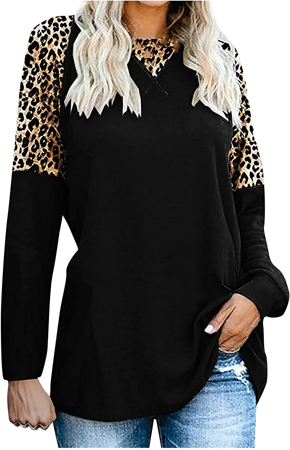 Women's Long Sleeve New Leopard Print Round Neck Casual Fashion T-Shirt All-Match Women's Blouse 370