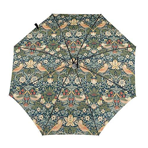 ウィリアム モリス 鳥および花 折り畳み傘 日傘 自動開閉 軽量 折りたたみ傘 UVカット 睛雨兼用 おりたたみ ワンタッチ 8本骨 耐風 梅雨対策 男女兼用