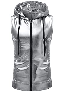 Howely Men's Hipster Metallic Zip-Front Sleeveless Hooded Vest with Nightclub Style