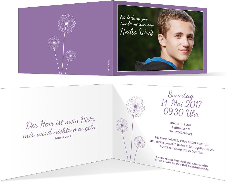 Konfirmation Einladungskarten (40 Stück) - PusteBlaume in Lila - Konfirmationskarten Einladung B06XFZMBRQ | Konzentrieren Sie sich auf das Babyleben