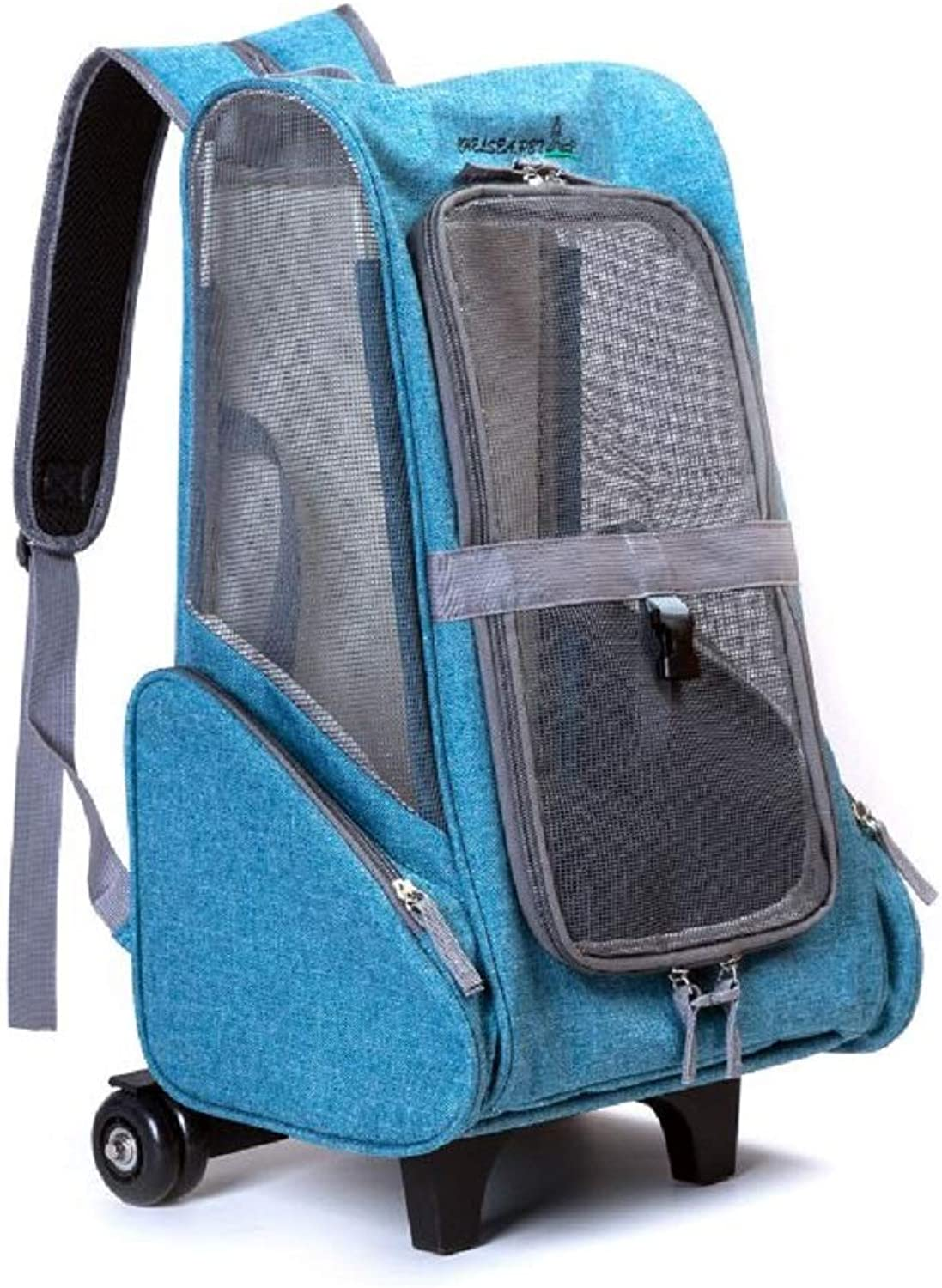 GDDYQ Pet Trolley Bag, Breathable and Lightweight Pet Backpack for Cats and Small Dogs, Hiking, Antiescape Buckle