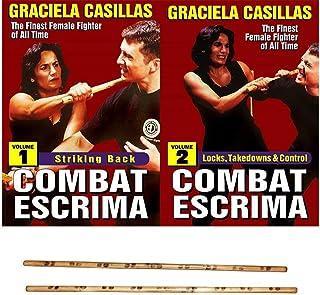 2 DVD SET Graciela Casillas Combat Escrima Women Filipino Martial Arts + Practice Sticks -VD3139R