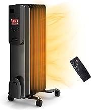 Radiador de aceite Radiadores Calentador de radiador rellenos de aceite de 1500W, radiador eléctrico portátil con control remoto, 3 ajustes de calor y termostato ajustable, calentador de aceite con pr