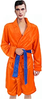 Bata de Baño para Hombres Pijamas Ropa de Dormir Super Suave Albornoz Chal Collar Ropa de Dormir Naranja