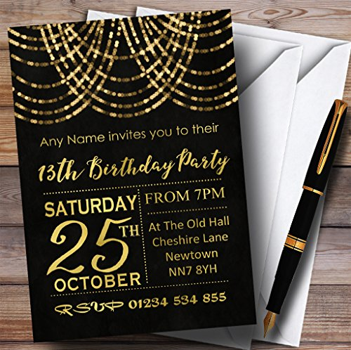 13e verjaardag nodigt gouden gedrapeerde slinger uit 13e gepersonaliseerde verjaardagsfeestuitnodigingen met enveloppen - elke aangepaste tekst voor elke gelegenheid 40 Cards & Envelopes
