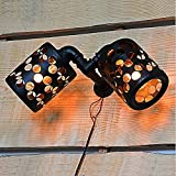 Lámpara de pared hueca exquisita retra europea, salón de bar cafetería oficina oficina metal tubo de agua escono montaje de pared lámpara de lectura lámpara comedor decoración de noche cabecera perfec