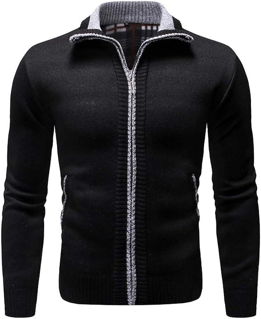 MODOQO Mens Sweaters Long Sleeve Zipper Cardigan Warm Breathable Knitwear