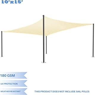 E&K Sunrise 10' x 15' Beige Sun Shade Sail Square Canopy - Permeable UV Block Fabric Durable Patio Outdoor Set of 1