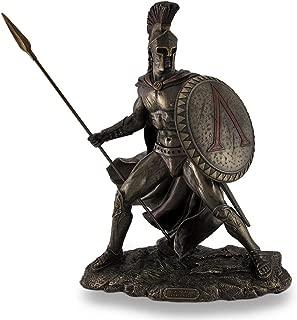 Resin Statues Leonidas, Greek Warrior King, Bronzed Sculptural Statue 10.25 X 13.25 X 6.25 Inches Bronze